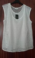Ladies White Blouse Size 14 Layered Lace Top