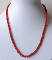 Bambus Koralle Halskette, rote Edelstein Kette mit Korallen Kugeln
