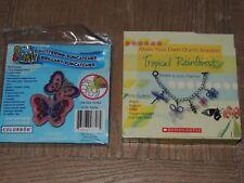 Lot of 2 Makit Bakit Glittering Butterflies & Tropical Rainforest Charm Bracelet
