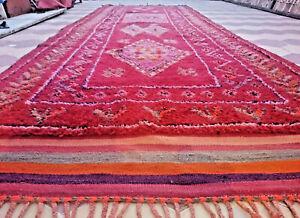 Moroccan Vintage Rug Boujaad Handmade Geometric Berber Colorful Natural Diye