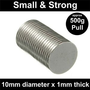 Super Strong Magnets (10mm x 1mm) Powerful * 0.5Kg PULL* Thin Small Disc Magnet