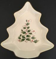 """Home for the Holidays Holly Candy Dish Tree Shape Gold Trim in Box 8"""" x 7 1/4"""""""