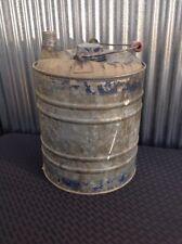 Antique Galvanized Gas Kerosene Oil One Gallon Tin Can Wood Handle Vintage