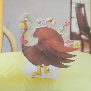 Paper Turkey Thanksgiving Centerpiece for Kids Table with Slots for Treats Vtge