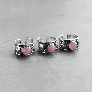 Tibetan Pink Jewel Trinket Ring-Silver Jewelry- Bohemian-Boho Thumb Ring - Gift