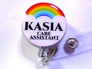 Rainbow ID Badge Reel Card Holder PERSONALISED NAME & OCCUPATION free p&p UK