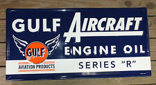 Large Embossed 35'' Gulf Aircraft Engine Oil Vintage Style Metal Signs Man Cave