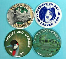 Denver Zoo -4 Pinback Buttons -1991-'94 Member & Conservation Day! Rhino+😲