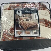cuddl duds red plaid flannel comforter set 4-piece king new