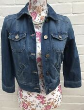 Oasis Denim Jacket Size 10 Cropped Blue Jean 100% Cotton