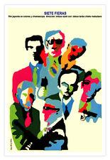 "Decor Graphic Design movie Poster""7 FIERCE Men""Japanese martial Art film.Japan"