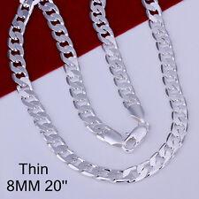 925Sterling Silver Jewelry 8MM Flat Sideways Men Chain Necklace 20inch NB034