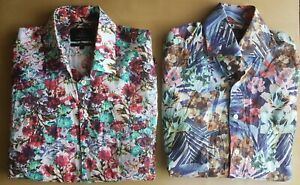 2 Hawes Curtis Mens shirt Large Hawaiian/Floral