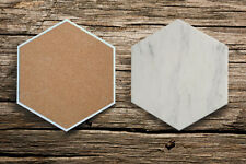"Carrara White Marble Hexagon Coasters / Trivets 8"""