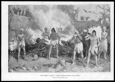 1897 Antique Print - INDIA RELIGION Hindu Burning Ground Plague Victims (09)