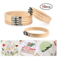 10 pcs Wooden Frame Hoop Ring Embroidery Cross Stitch Sewing DIY Accessories