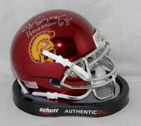 O. J. Simpson Signed USC Chrome Schutt Mini Helmet w/Heisman- JSA W Auth *Silver