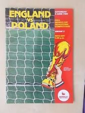 England v Poland June 3rd 1989 - World Cup Qualifier - Vgc Programme