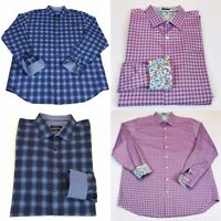 Lot Of 2 Bugatchi Uomo Mens Classic Fit Shirt XXL Plaid Long Sleeve Button up