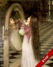 WOMAN GIRL LONG HAIR LOOKING IN MIRROR OIL PAINTING ART REAL CANVAS GICLEEPRINT