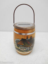 VINTAGE LEYSIN WOODEN BARREL BANK SOUVENIR - NO KEY