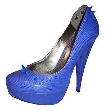 Plataforma De Piel Azul Topshop chelise huelga Kitsch Spike Stud Rock Zapatos 5 38