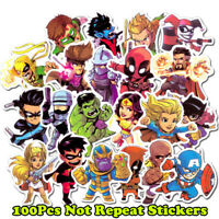 100Pcs Superhero Spiderman Batman Superman Hulk Kids Stickers For Luggage Laptop