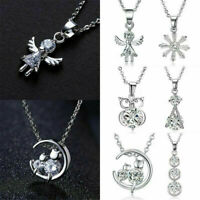 925 Silver Crystal Zircon Pendant Choker Chain Charm Necklace Women Jewelry Gift