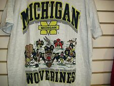 Michigan Wolverines shirt Vintage 90s Looney Tunes Large NCAA gray NEW deadstock