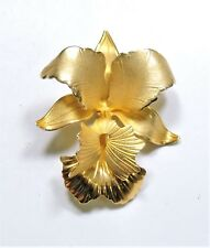 Vintage Goldtone Orchid Flower Brooch Pin  AP1872