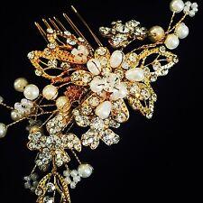 USA HAIR COMB use Swarovski Crystal Wedding Bridal Dancer French Twist Gold Q3