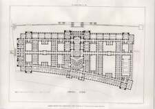 1908 London County Hall Competition Detailed Room Floor Plan, Russell, Cooper