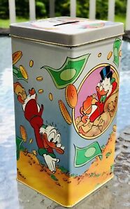Extremely Rare! Disney Uncle Scrooge Sport of Tycoons Old Metal Tin Coin Bank