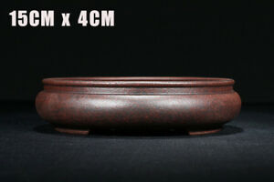 15x15x4cm Dark Red Round Chinese Yixing Zisha Shohin Bonsai Pot
