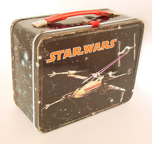 1977 THERMOS STAR WARS LUNCH BOX LUKE C3PO OBIE WAN STORMTROOPERS X-WING