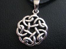 Keltischer Knoten 925'er Silber + Echtlederband Ketten Anhänger  / KA 290