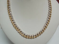 Miami Cuban Link 22 Inches 7 mm Wide Chain with Diamonds & 18K Two Tone Gold