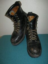 VINTAGE STEEL TOE BLACK LEATHER ENGINEER PACKER WORK CHORE LACE UP BOOTS  9.5 W