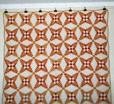 """""""SNOWFLAKE"""" Quilt: 64"""" x 74"""", c1920's, Adirondack Co.,NY Red/Yellow/Tan Cottons."""