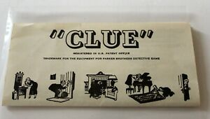 Vintage CLUE Board Game Replacement Instruction Rules 1950