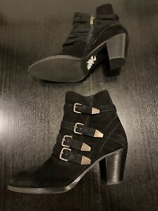 Mint Velvet Black Suede Strap Heeled Bike Boots Size 5