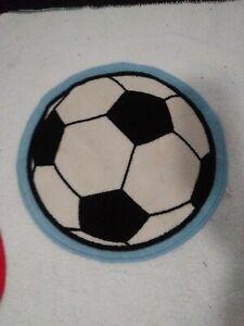 Small Sports Rug soccer theam kids room decor blue black white soccer ball shape