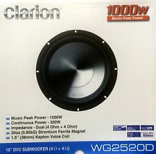 """NEW Clarion WG2520D 10"""" WG Series Dual 4 Ohm Car Audio Subwoofer"""
