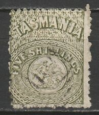 TASMANIA 1863 ST GEORGE AND DRAGON 5/- PERF 12 USED