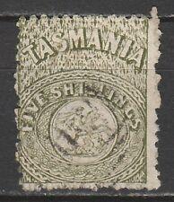 TASMANIA 1863 ST GEORGE AND DRAGON 5/- PERF 12 USED