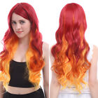 Women Cosplay Wig Long Wave Curly Wigs Fire Orange Red Ombre Hair