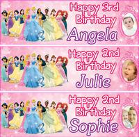 2 x personalised Princess birthday banner children nursery kid party decoration