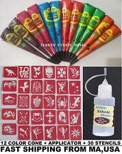 12 Color Henna Cone + 30 Stencil + APPLICATOR  Temporary Tattoo kit BODY ART USA