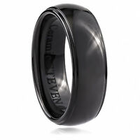 Men/'s 8mm Wide Black Ceramic Band Comfort Fit Ring Raised Matt Center CER052