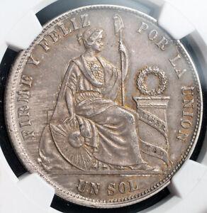 1869, Peru (Republic). Certified Large Silver 1 Sol Coin. Arabic 1! NGC AU-58!